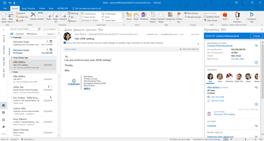 Tap the power of Microsoft Dynamics 365 directly from MicrosoftOutlook