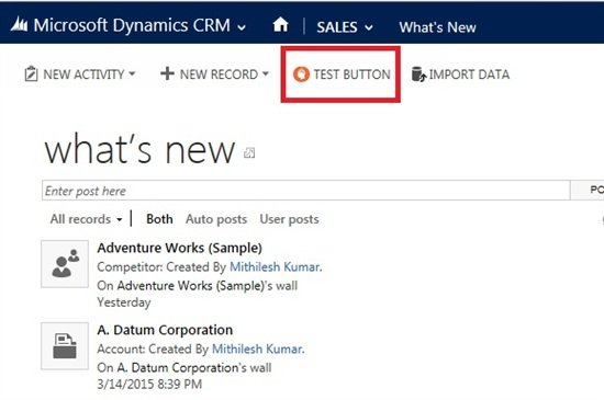 To Add a global button for all entities on CRM