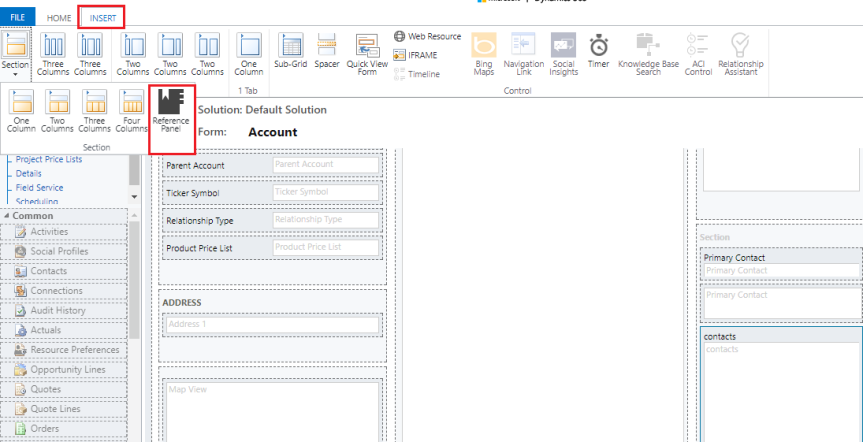 Reference Panel section in dynamics 365v9
