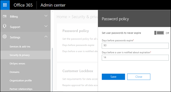 Password expiration policy for your users in Dynamics 365