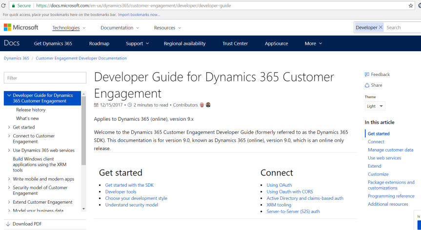What's new for Dynamics 365 CE Developer documentation in version 9.0